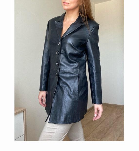 Jessica vintage black leather jacket blazer Jessic