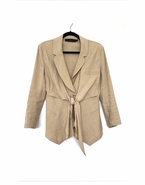 Donna Karan Light Sand Color Linen Jacket Blazer,