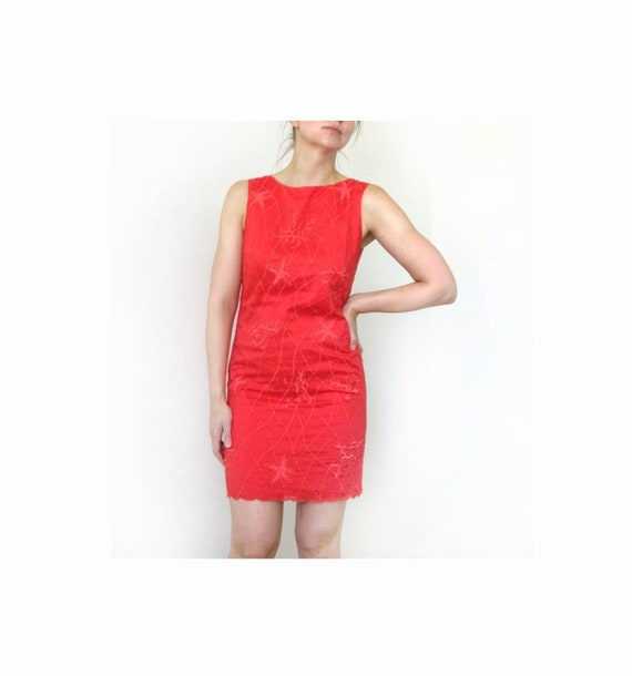 Laurel Coral Red Dress, Laurel sea motives dress,