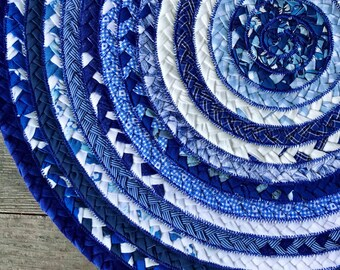 """19.5"""" braided centerpiece inspired by blue willow china"""
