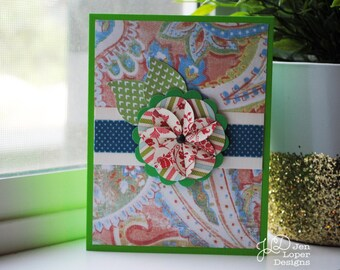 Green Paisley with Flower - Blank Note Card