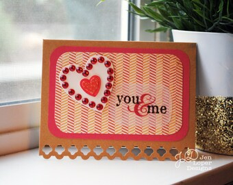 You & Me Heart - Love Card - Blank Note Card
