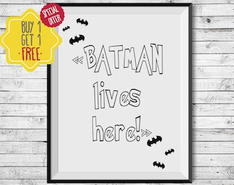 Superhero wall art,  batman gifts for boyfriend, black and white nursery prints, baby boy nursery wall décor,nursery art,printable superhero