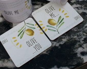 Greek olive oil gift of drink coaster set of 2/ Coasters set white/ Greek souvenirs/ Made in Greece by 2eggsproject