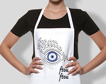 Ladies apron with evil eye protection symbol made in Greece/ Washed linen apron.,