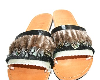 98d0b89e9bf2 Woman leather sandals – Handmade slip on shoes made in Greece make nice  woman gift idea. Summer shoes for women