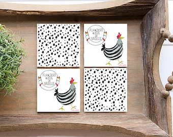 Flamingo coasters, Drinking coasters with chicken, Greek sayings, Love chicken design, Polka dot, Set of 4 coasters, Souvenirs from Greece
