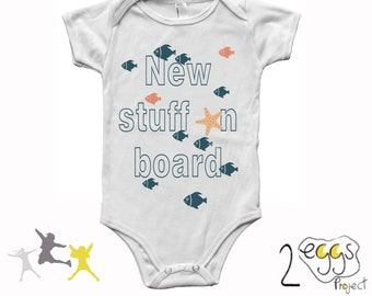 New stuff on board, fish baby theme, new dad gift, baby clothes for boys, baby shower, infant summer outfit, newborn boy coming home outfit