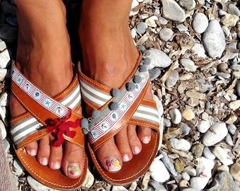 Greek sandals women leather, pom pom garland navy, handmade shoes womens, gift for mom, summer lover, slip on shoes, slide sandals women 7.5