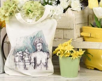 Venus statue tote bag, Reusable Eco Beach Shopper Bag.