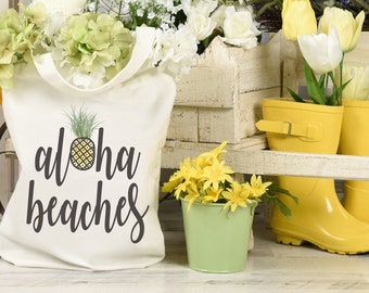 """Hawaii tote – Funny tote bag with quote """"Aloha beaches"""" and pineapple graphic makes hippie tote bag gift for women. Pineapple gifts for mom"""