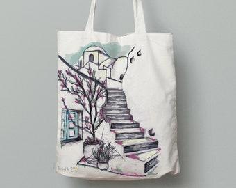Tote bag canvas, printed tote bag art, tote bag canvas book bag, Shoulder bag, Cotton tote bag, hand drawn art, greek art, Amorgos house 3