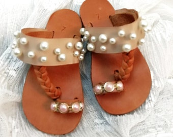 Pink baby shoes for girl baptism ~ baby flip flops christening sandals.