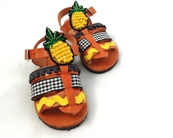 Pineapple baby shoes ~ Unisex kids sandals fruit made in Greece.