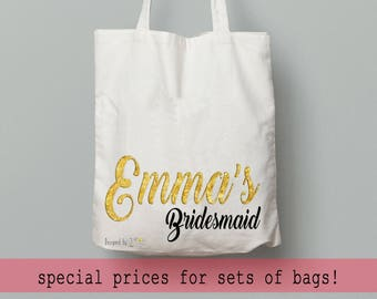 Will you be my bridesmaid proposal gift box, bridesmaid bag set of 6, wedding gift personalized for girls, custom name bag, thank you gift