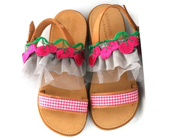 Sandals with cherries for girls, Hnadmade sandals, Made to order sandals, Made in Greece,Pink sandals