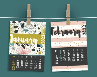 2022 monthly planner– Date calendar with flower cards in pink makes cute planner monthly tabs. Instant download wall calendar