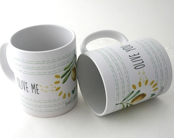 Olive me mugs for couple in set of 2 souvenirs from Greek / Olive tree print made in Greece by 2eggsproject / I love Greece gifts