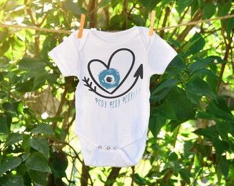 Φτου φτου gift, mati baby onesie, Greek baby onesie, beach baby clothes, greek evil eye print, baby girl summer outfits, blue evil eye baby