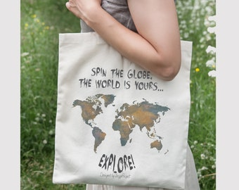 World map tote bag, tote bag canvas quote, gift for travel lover, explore the world, cotton bag tote, traveler gift, travel map of the world