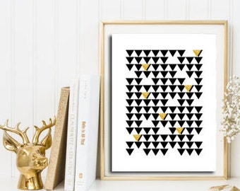 Gold foil print, Geometric poster, scandinavian wall art, triangle art, Geometric decor, nordic print, abstract geometric, minimalist art