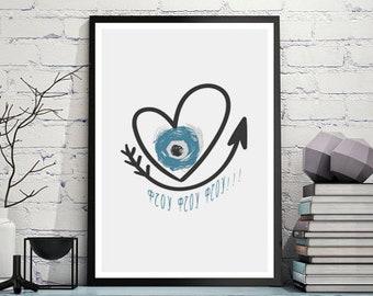 Print Evil Eye, Boho Chic Wall Art, Greek Evil Eye Blue art, Minimal Poster Art, Black and white, Girl nursery wall decor, Baby printables