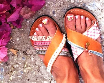 Slide sandals women boho – Brown leather sandals boheme make cute summer  shoes gift for her. Ancient greek sandals 8887ad52c2d6