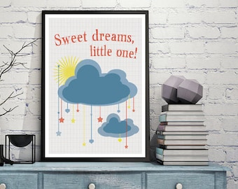 Sweet dreams poster, Kids printables, Nursery decor, Kids room art, Art for boys room, Hanging clouds, Sun, baby room wall art, kids poster