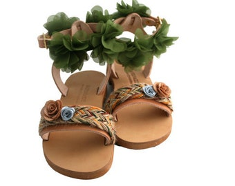 Girls sandals, Kids sandals, Greek leather shoes, Boho kids sandals, Green Flower sandals, Size 5 sandals, Baby and toddler Tie up sandals