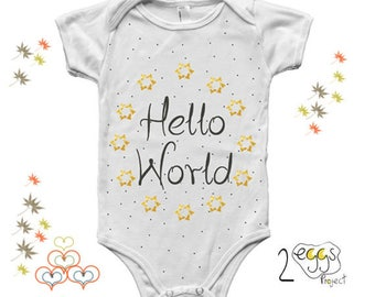 """Baby Girl Clothes Hipster – Newborn Outfit with """"Hello world"""" quote for Adventure Baby Announcement makes cute Onesie Gift for Baby Shower"""
