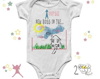 Announcement pregnancy to husband, onesie baby funny, hand lettering print, new boss, announce pregnancy to dad, baby girl clothes,baby gift