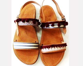 8af5e276b123 Leather sandals handmade – Slip on shoes decorated with pom poms