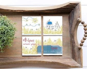 Coasters set of 4/ Housewarming gift from Greece/ Greek mythology/ Couples gift/ EROS.