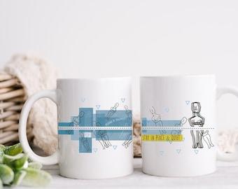 Cycladic Idols Mugs with holder/ Handpainted ceramic Coffee Mug for 2/ Cycladic figurines/Blue ceramic Mugs mum from Greece.