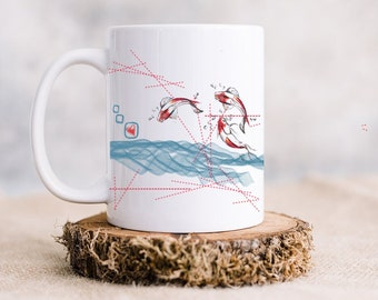 Mug with saying and fish art print comes in set of 2 mugs from Greece / summer in Greece/ Summer islands/ Greece vacation in Mykonos