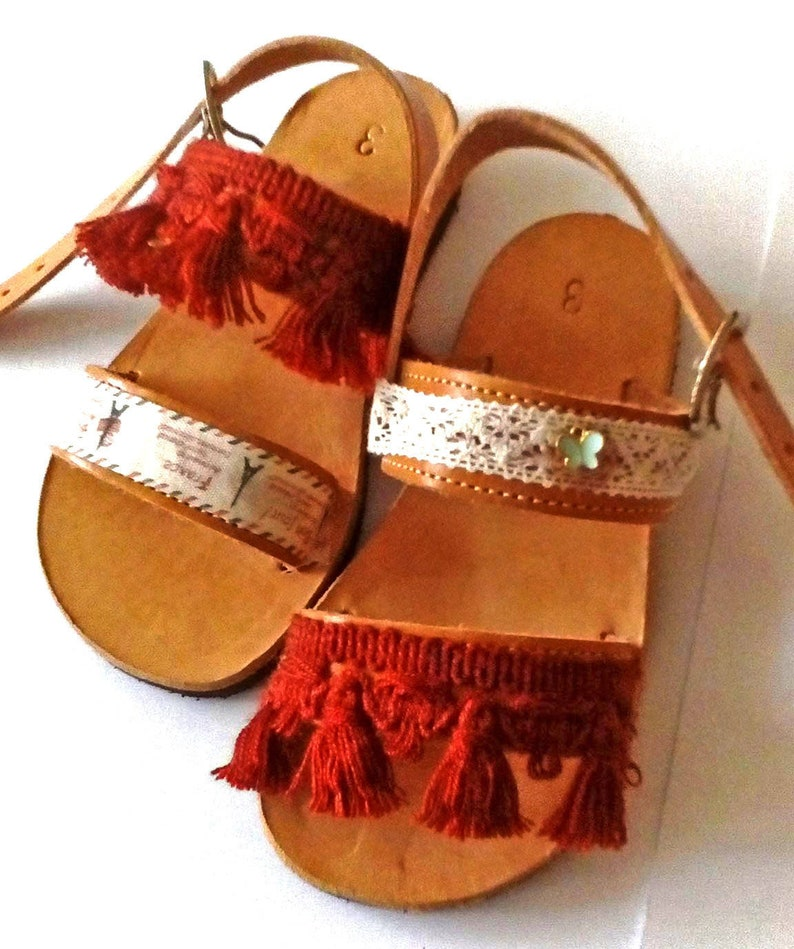 Boho shoes for girls  Greek leather sandals with soft sole image 0