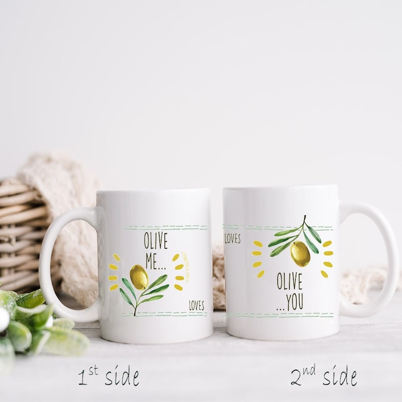 Olive me mugs for couple in set of 2 souvenirs from Greek / image 1
