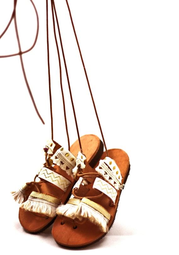 6904ea29de1 Leather sandals for toddler girl Gladiator sandals with pom