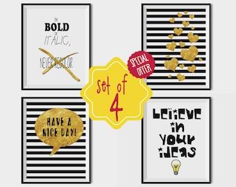 Set of 4 posters, Minimal, Set of prints, Set wall art, Black, Gold Foil, Inspirational printable, Hearts poster, Positive, Home decor art