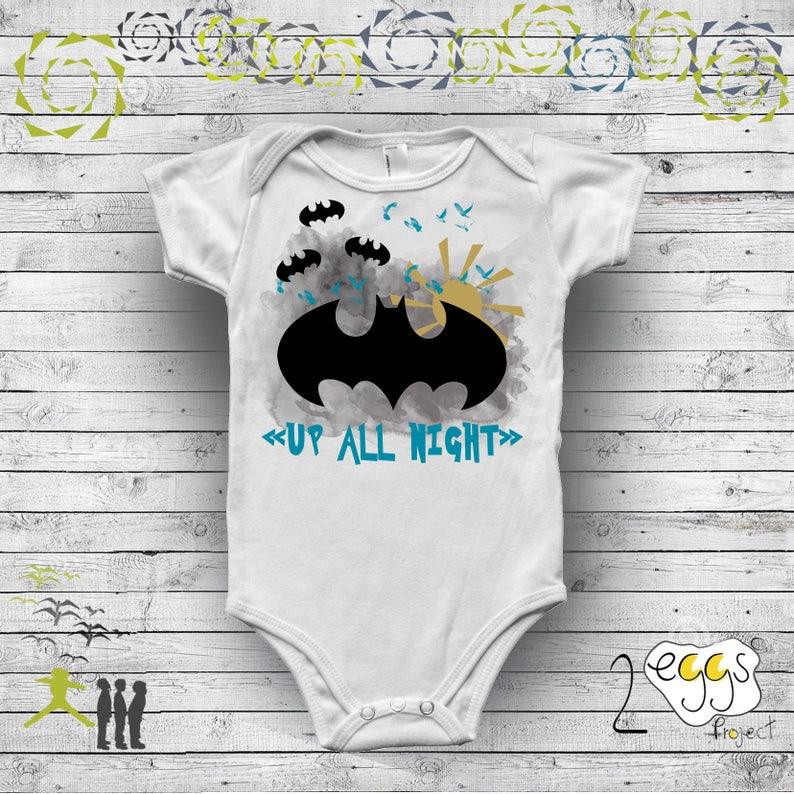 7c00b2c00 Batman birthday boy Superhero onesie with saying Up all | Etsy
