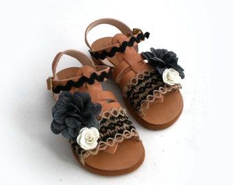 Girls sandals, Barefoot toddler, Little Girl Black sandals, Handmade to order, Greek baby sandals, Gladiator girl shoe, Greek sandals baby