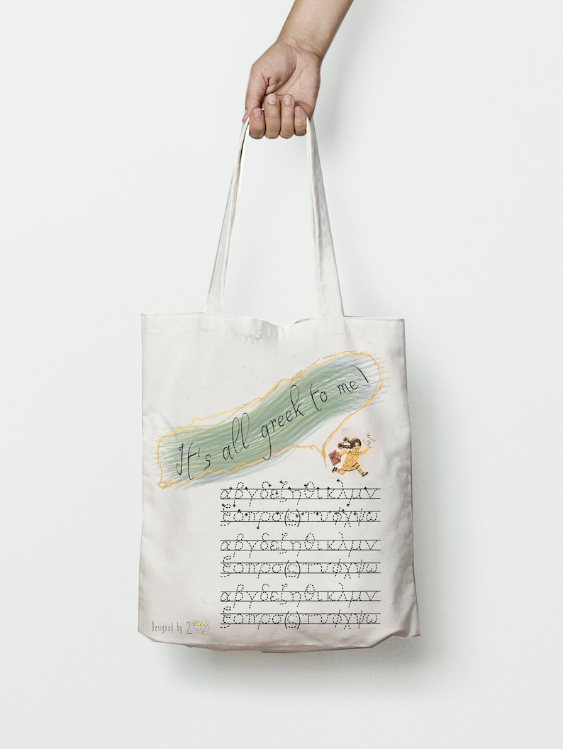 Grocery bag Greek alphabet embroidery font bag\u2013 Greek letters iron on tote bag with saying \u201cIts all Greek to me\u201d makes cute Greek gift idea