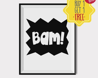 Bam bam design, Nursery decor, newborn announcement, Kids room decor, digital download, Black and white art, Printable art, quote prints art