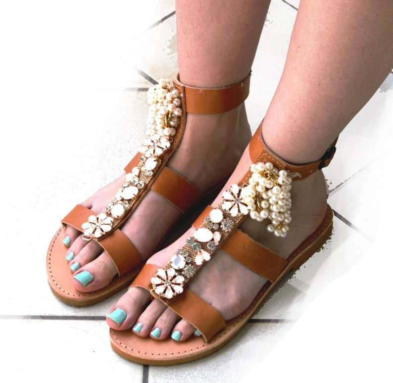 5d01664a1d92 Ladies shoes for wedding Barefoot sandals with beads and