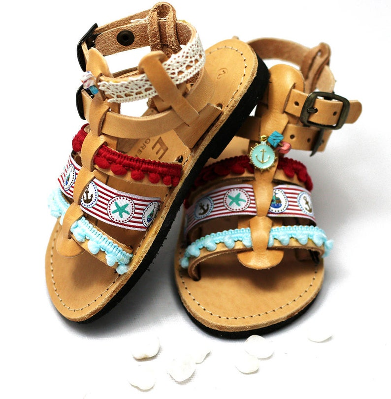 Hippie baby shoes  Gladiator sandals with pom pom make cute image 0