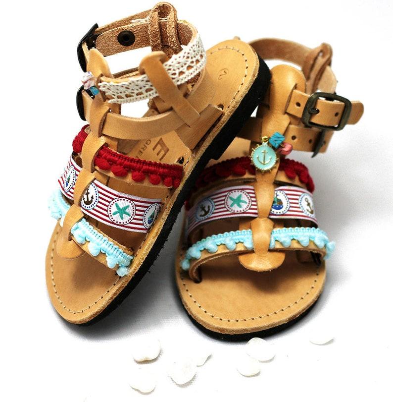 28cdb4a9704a Hippie baby shoes Gladiator sandals with pom pom make cute