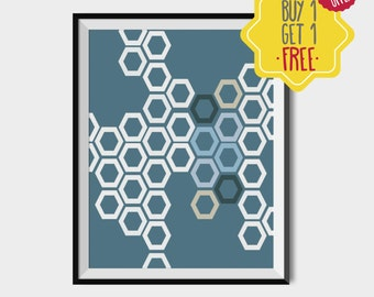 Polygon print, Blue poster, geometric prints digital, digital art download, instant download printable art, wall art prints in blue, minimal