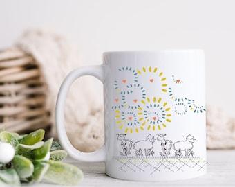 11oz Mugs animals with sheep painting/ Griechisch gemacht/ Greece art mug of ceramic mug/ 2 eggs project
