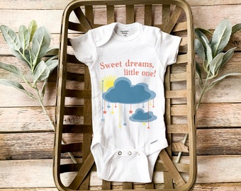 Onesie newborn boy - Baby boy coming home outfit Onesie saying Sweet dreams little one and print graphic makes cute handmade gift for baby