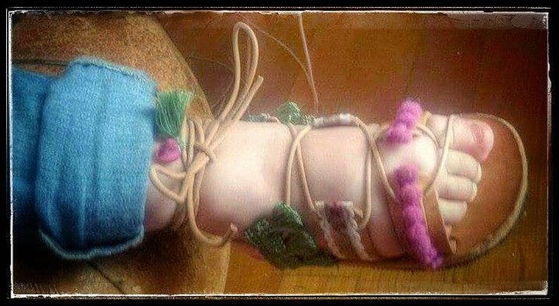 Gladiator shoes baby  Boho and hippie sandals with pompon image 1